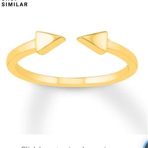 10k yellow gold deconstructed triangle ring